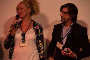 Pilar y Fernando Sancho durante el homenaje a su padre en el Almería Western Film Festival. Fotografía de Carlos Freire.