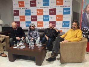 Fernando Fabiani, Práxedes Nieto, Víctor Carretero y Ángel Idígoras durante la rueda de prensa en el Teatro Cervantes