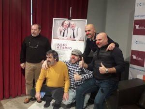 Miguel Gallego, Ángel Idígoras, Práxedes Nieto, Fernando Fabiani y Víctor Carretero en la rueda de presentación en el Teatro Cervantes