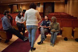 """El equipo artístico de """"La última boqueá"""" durante nuestra entrevista. Fotografía de Tamsimple."""