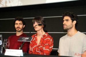 """Chino Darín, Vicky Luengo y Juan Betancourt durante la rueda de prensa de """"Las leyes de la termodinámica"""" en la 21 edición del Festival de Cine en Español de Málaga. Fotografía de Mai Serrano."""