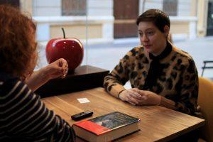 Alaitz Leceaga durante nuestra entrevista. Fotografía de Carlos Freire.