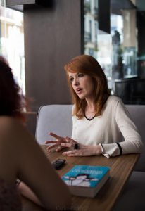 Vanessa Montfort durante nuestra entrevista. Fotografía de Carlos Freire.