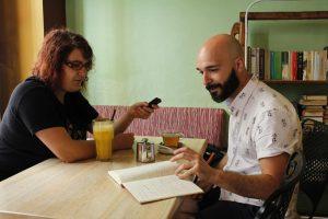 Javi Sancho durante nuestra entrevista. Fotografía de Arantxa Catalá.