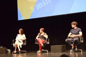 """Paz Vega, Macarena Astorga y Javier Rey durante la presentación de """"La casa del caracol"""" en """"5 minutos de cine"""""""