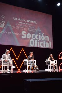 Ernesto Alterio, Achero Mañas y Gala Aymach durante la rueda de prensa en Teatro Cervantes.