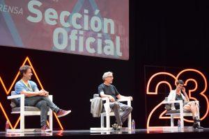Vito Sanza, David Trueba y Ana Alarcón durante la rueda de prensa.