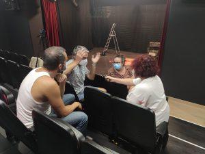 Paco Pozo, Juan Antonio Hidalgo e Inma Caballero durante nuestra entrevista. Fotografía de Geraldine Torres.